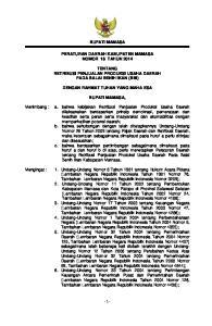 BUPATI MAMASA PERATURAN DAERAH KABUPATEN MAMASA NOMOR 18 TAHUN 2014 TENTANG RETRIBUSI PENJUALAN PRODUKSI USAHA DAERAH PADA BALAI BENIH IKAN (BBI)