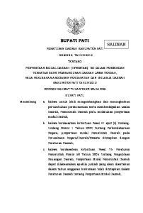 BUPATI PATI PERATURAN DAERAH KABUPATEN PATI NOMOR 6 TAHUN 2012 TENTANG
