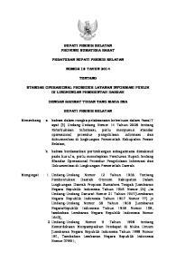BUPATI PESISIR SELATAN PROVINSI SUMATERA BARAT PERATURAN BUPATI PESISIR SELATAN NOMOR 18 TAHUN 2014 TENTANG