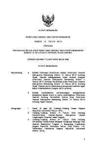 BUPATI SEMARANG PERATURAN DAERAH KABUPATEN SEMARANG NOMOR 12 TAHUN 2013 TENTANG