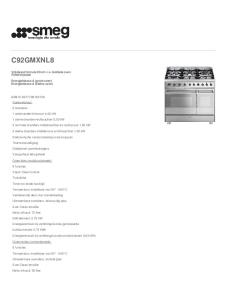 C92GMXNL8. Vrijstaand fornuis 90 cm v.v. dubbele oven Roestvrijstaal Energieklasse A (grote oven) Energieklasse A (kleine oven)
