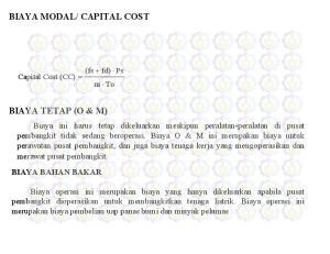 CAPITAL COST BIAYA TETAP (O & M)