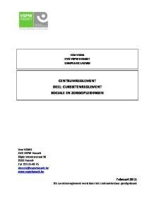 CENTRUMREGLEMENT DEEL: CURSISTENREGLEMENT SOCIALE EN ZORGOPLEIDINGEN