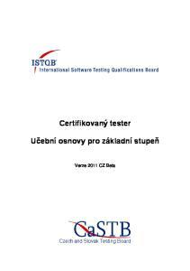 Certifikovaný tester Učební osnovy pro základní stupeň