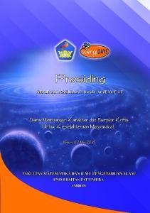 Cetakan I, Agustus 2014 Diterbitkan oleh: Fakultas Matematika dan Ilmu Pengetahuan Alam, Universitas Pattimura