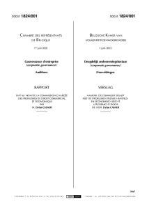 CHAMBRE DES REPRÉSENTANTS BELGISCHE KAMER VAN. Gouvernance d entreprise (corporate governance) Deugdelijk ondernemingsbestuur (corporate governance)