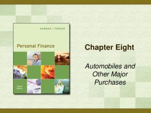 Chapter Eight. Automobiles and Other Major Purchases