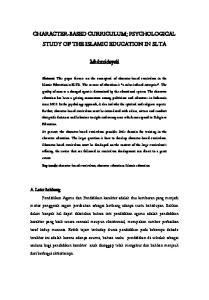 CHARACTER-BASED CURRICULUM; PSYCHOLOGICAL STUDY OF THE ISLAMIC EDUCATION IN SLTA. Muhmidayeli