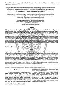 Christian Yulianto Kurniawan, et, al Kajian Yuridis Pembentukan Pemerintah Daerah Propinsi Daerah Istimewa Yogyakarta Berdasarkan