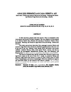 CITRA HILDA KARISSA JOHANNA MARIA KODOATIE, SE, G.Dip. Ec, M. Ec, Ph. D ABSTRACT