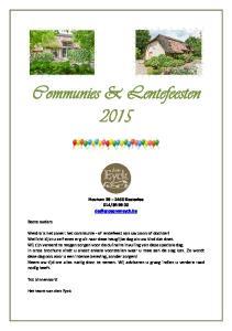 Communies & Lentefeesten 2015
