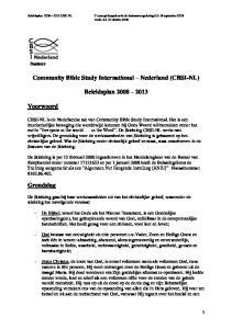 Community Bible Study International Nederland (CBSI-NL) Beleidsplan