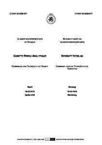 COMPTE RENDU ANALYTIQUE BEKNOPT VERSLAG COMMISSION DES FINANCES ET DU BUDGET COMMISSIE VOOR DE FINANCIËN EN DE BEGROTING BELGISCHE KAMER VAN
