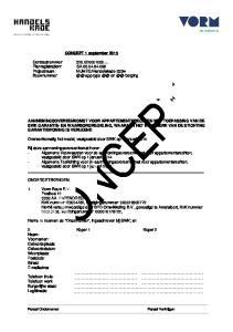 CONCEPT 1 september Contractnummer: Planregistratienr: SA Bouwnummer: app type en berging
