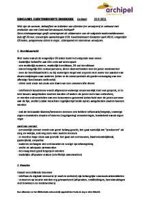 CONCLUSIES CLIENTENBEHOEFTE ONDERZOEK Archipel