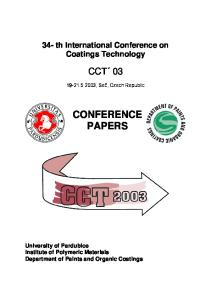 Conference Papers Cct Th International Conference On Coatings