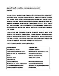 Contoh topik penelitian manajemen rumahsakit