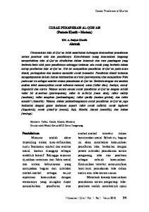 CORAK PENAFSIRAN AL-QUR AN (Periode Klasik Modern) Abstrak
