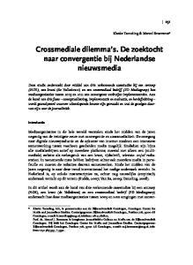 Crossmediale dilemma s. De zoektocht naar convergentie bij Nederlandse nieuwsmedia