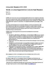 Cultuurvisie Maassluis Beleids- en uitvoeringsprioriteiten Culturele Raad Maassluis