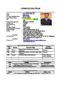 CURRICULUM VITAE Sarjana Universitas Sebelas Maret Surakarta Fakultas Ekonomi Jurusan Akuntansi