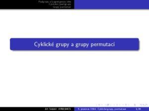 Cyklické grupy a grupy permutací