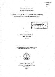 *^d. 72s.1t073 KAJIAN ULANG SURABAYA RESTAI]RANT AWARD LAPORAN PENELITIAN PRO GRAM MANAJEMEN PERI.IOTEI,AN. Surabaya, lv. - _+,_-