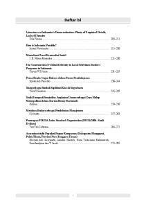Daftar Isi. Literature on Indonesia s Democratisation: Plenty of Empirical Details, Lack of Theories Ulla Fionna