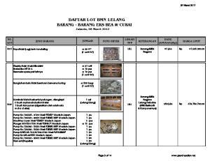 DAFTAR LOT BMN LELANG BARANG - BARANG EKS BEA & CUKAI Jakarta, 08 Maret 2012