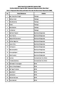 Daftar Nama Peserta Bidik Misi Angkatan 2010 Pelatihan Bidik Misi Angkatan 2010