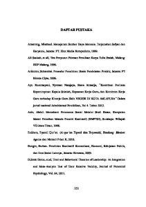 DAFTAR PUSTAKA. Amstrong, Mischael. Manajemen Sumber Daya Manusia. Terjemahan Sofyan dan. Haryanto, Jakarta: PT. Elex Media Komputindo, 1999