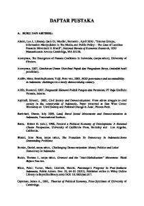 DAFTAR PUSTAKA. Anonymus, The Emergence of Peasant Coalitions In Indonesia, (tanpa tahun), University of Flinders