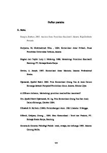 Daftar pustaka. Bungin, Burhan Analisis Data Penelitian Kualitatif. Jakarta: RajaGrafindo Persada