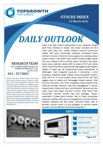 DAILY OUTLOOK STOCKS INDEX RESEARCH TEAM PLAZA BAPINDO MANDIRI TOWER LT. 28 JL. JENDRAL SUDIRMAN KAV JAKARTA INFO