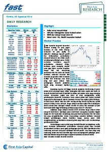 DAILY RESEARCH. Market Preview. Kamis, 20 Agustus 2015
