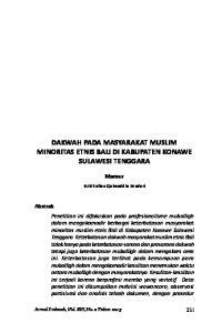 DAKWAH PADA MASYARAKAT MUSLIM MINORITAS ETNIS BALI DI KABUPATEN KONAWE SULAWESI TENGGARA