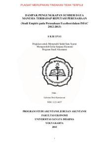 DAMPAK PENGUNGKAPAN SUMBER DAYA MANUSIA TERHADAP REPUTASI PERUSAHAAN (Studi Empiris pada Perusahaan Excellent dalam IMAC )