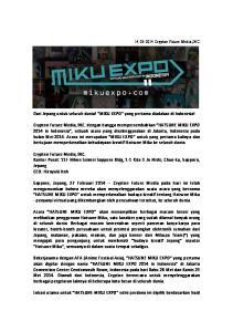 Dari Jepang untuk seluruh dunia! MIKU EXPO yang pertama diadakan di Indonesia!