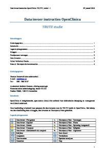 Data invoer instructies OpenClinica
