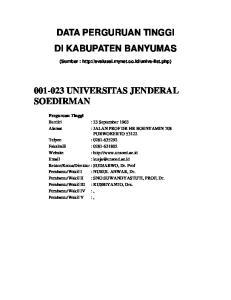 DATA PERGURUAN TINGGI DI KABUPATEN BANYUMAS UNIVERSITAS JENDERAL SOEDIRMAN