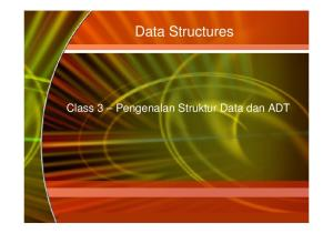 Data Structures. Class 3 Pengenalan Struktur Data dan ADT. Copyright 2006 by The McGraw-Hill Companies, Inc. All rights reserved