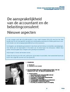 De aansprakelijkheid van de accountant en de belastingconsulent Nieuwe aspecten