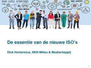 De essentie van de nieuwe ISO s. Dick Hortensius, NEN Milieu & Maatschappij