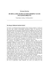 DE HOLLANDS RADICALE BENADERING VAN DE PAULIJNSE BRIEVEN