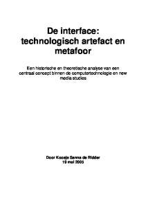 De interface: technologisch artefact en metafoor