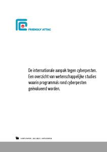 De internationale aanpak tegen cyberpesten. Een overzicht van wetenschappelijke studies waarin programma s rond cyberpesten geëvalueerd worden