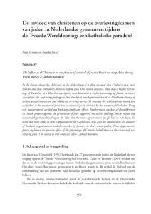 De invloed van christenen op de overlevingskansen van joden in Nederlandse gemeenten tijdens de Tweede Wereldoorlog: een katholieke paradox?