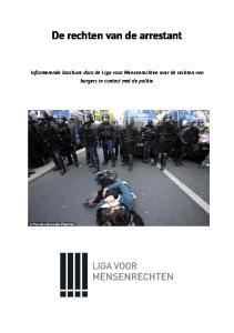 De rechten van de arrestant. Informerende brochure door de Liga voor Mensenrechten over de rechten van burgers in contact met de politie
