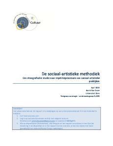 De sociaal-artistieke methodiek Een etnografische studie naar repetitieprocessen van sociaal-artistieke praktijken