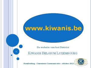 De website van het District Handleiding - Commissie Communicatie - oktober 2012